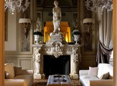 Grand Hotel Villa Cora in Florence, Italy | Yatzer  Love the fireplace.