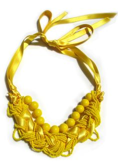 1111 Necklace Collection - The Necklace Collection' is all about making a statement. Forget about crazy outfits, these colorful accessories are enough to make anyone st. Yellow Necklace, Yellow Jewelry, Diy Necklace, Pendant Necklace, Beaded Jewelry, Handmade Jewelry, Beaded Bracelets, Jewellery, Diy Jewelry