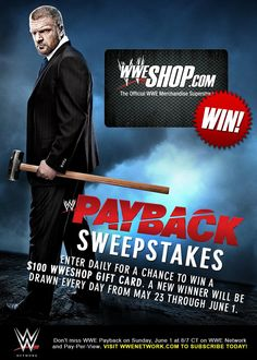 Enter the WWE Payback Sweepstakes for chance to win $100 WWEShop Gift Card!