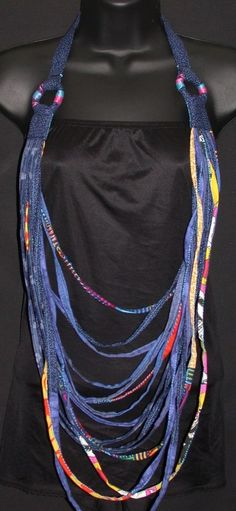 Handcrafted Vibrant Blue MultiStrand Bohemian Statement Textile Necklace #Handcrafted #Statement