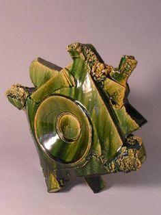 Artist: Shigemasa Higashida, Title: Oribe Vase #23 - click on image to enlarge