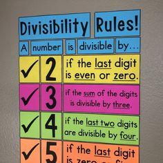 My Math Resources – Divisibility Rules Poster My Math Resources – 4 Quadrant Coordinate Plane Poster and Handout Math Wall, Math Word Walls, Math Posters Middle School, Divisibility Rules, Math Classroom Decorations, Math Bulletin Boards, Bulletin Board Ideas Middle School, Math Anchor Charts, Math Charts