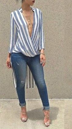 Glamaker Swallowtail striped women blouse shirt 2016 Autumn long sleeve deep v neck loose casual blouse blusas Party sexy tops Work Casual, Casual Chic, Casual Looks, Chic Outfits, Spring Outfits, Fashion Outfits, Womens Fashion, Mode Style, Look Fashion