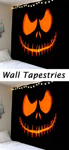 Halloween decor ideas:Waterproof Halloween Smiling Face Ghost Wall Tapestry