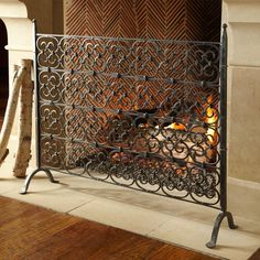 black iron fireplace screen. WISTERIA Hand Forged Wrought Iron Gothic Scroll Decorative FIREPLACE SCREEN Adalia Black Brushed Gold Finish Fireplace Screen