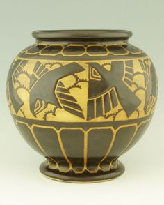 Art Deco Grès Keramis vase with birds by Charles Catteau Belgium 1925 Ceramics