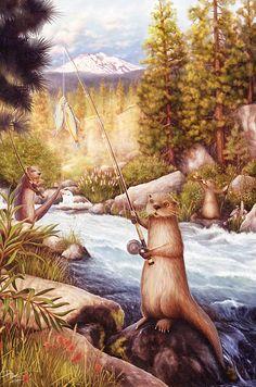 Otter Art Print Otter's Lucky Catch 19x13 by Randyswildlife