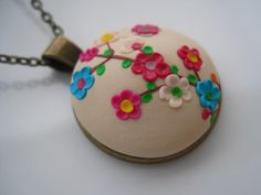 Sahara Flowers Handmade Unique Polymer Clay Necklace in Bronze Cameo Setting - Free Shipping