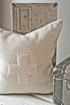 one of my vintage linen cross pillows . Textiles, Design Rustique, Diy Inspiration, Grain Sack, Linens And Lace, Home And Deco, Vintage Market, Red Cross, Cool Lighting