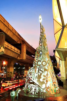 Typo Tree / Christmas tree made from die-cut construction leftovers. by Farmgroup