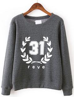 Grey Long Sleeve Leaves 31 Print Sweatshirt - Sheinside.com