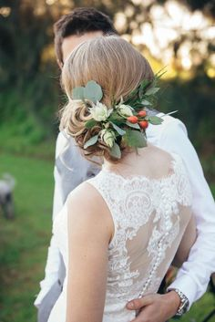 australian natives / floral hair piece / floral crown / bride / perth wedding / lace bridal gown / core cider house / winter wedding / rustic glamour styling  Rustic Winter Orchard Wedding Inspiration featured on Polka Dot Bride captured by Earthbound Images http://www.earthboundimages.com.au