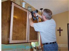 Nailing strips of wood to cover grooves. Journeys with Juju: Kitchen Cabinet Makeover - Doors & Drawers Facelift! Refacing Kitchen Cabinets, Kitchen Redo, Kitchen Remodel, Kitchen Ideas, Cabinet Refacing, Cabinet Ideas, Melamine Cabinets, Wood Cabinets, Cupboards