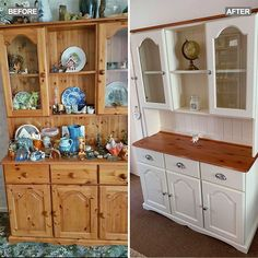 The painted dresser is the new hero home DIY project. This simple upcycling makeover is sweeping the world of social media as strive for less waste Refurbished Furniture, Repurposed Furniture, Furniture Makeover, Repurposed China Cabinet, Hutch Makeover, Simple Furniture, Kitchen Furniture, Funky Furniture, Furniture Ideas
