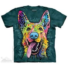 This All You Need Is Love German Shepherd Dog shirt is part of the Dean Russo Rescue Collection from The Mountain and it gives back in many ways. After just one wash you will not know where the print