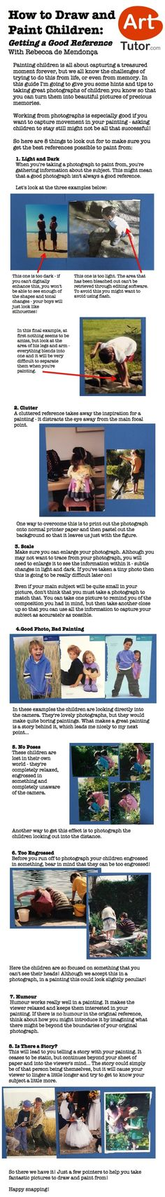 Do you ever struggle to get good reference photographs of children to turn into beautiful paintings? Have a look at this guide to find out what kind of photos make good paintings and what to avoid.