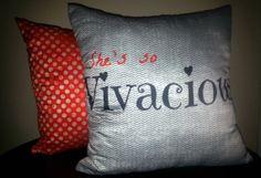 Shes so Vivacious reversible throw pillow set 16x16
