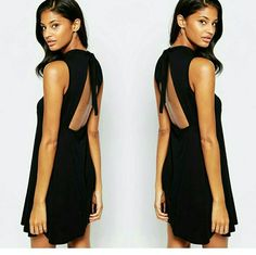 ASOS Backless Bow Babydoll Dress Soft-touch stretch jersey dress from ASOS in BLACK.  Backless, self-tie keyhole cut out.  95% Viscose, 5% Elastane.  US Size 4, regular fit - true to size.  Brand new with tags. ASOS Dresses Backless