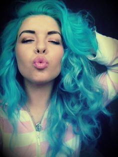 Me with my bubble gum blue hair.