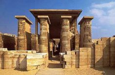 The entrance colonnade in the Djoser Step Pyramid Complex
