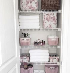 Home Organization, bathroom Organization, pink bins Bathroom Linen Closet, Bathroom Closet Organization, Bathroom Organisation, Closet Storage, Bathroom Storage, Linen Closets, Small Closets, Wardrobe Storage, Attic Storage