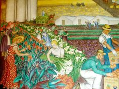 Coit Mural Agriculture - Social realism - Wikipedia Coit Tower San Francisco, Office Mural, Modern Art Styles, Social Realism, Modern Artists, Printmaking, Illustration, Art Projects, Artsy