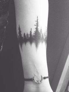 e651a284e #tattoo Forest Tattoo Arm, Tree Thigh Tattoo, Tree Arm Tattoos, Wrist Tree
