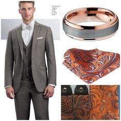 My groom's look for our fall wedding this October! Rose gold and silver wedding band. Orange with blue paisley accessories! Grey Tuxedo Wedding, Groom Looks, Silver Wedding Bands, Fall Wedding, Paisley, October, Suit Jacket, Rose Gold, Orange