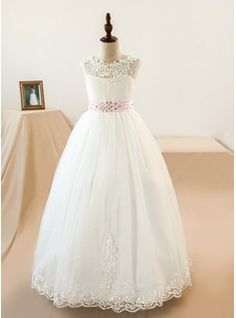 Ball Gown Floor-length Flower Girl Dress - Tulle/Lace Sleeveless Scoop Neck With Sash/Appliques/Bow(s) (Petticoat NOT included) (010104226)
