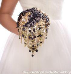 8cdce7fcc379d Black Gold Brooch Bouquet Custom Crystal Alternative Keepsake Rhinestone  Gift Bridal Wedding Bouquet Bridesmaid Bride Party Shirt luxury