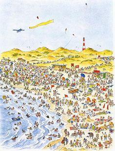 Uit 'Mensen, mensen, wat een mensen!' van Peter Spier Book Illustrations, Children's Book Illustration, Nursery Rhymes, Beautiful Artwork, Children's Books, Fairy Tales, Cartoons, Posters, Inspire