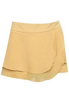 #Romwe Flouncing Khaki Layered Culottes