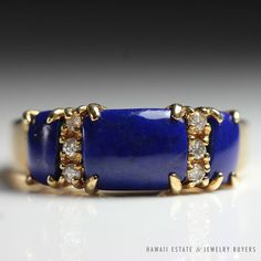 see more #vintagejewelry #estatejewelry on our website (link in bio!). #VINTAGE #LAPISLAZULI DIAMOND BAND RING 14K YELLOW GOLD (SZ 7) NR JEWELRY #Band