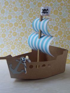 Home Decorating Style 2016 for Pirate Ship Cardboard Cutout Beautiful toilet Roll Sails, you can see Pirate Ship Cardboard Cutout Beautiful Toilet Roll Sails and more pictures for Home Interior Designing 2016 67740 at Cover Letter Examples For Resume. Boat Crafts, Diy And Crafts, Crafts For Kids, Paper Crafts, Cardboard Pirate Ship, Cardboard Toys, Pirate Ship Craft, Pirate Birthday, Pirate Theme