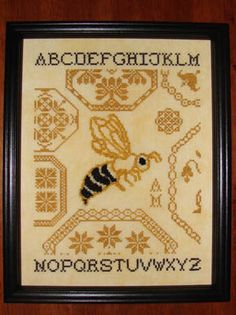 Quaker Bee - Cross Stitch by AuryTm. Perfect for a bee keeper I know.