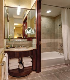 Petite Room Bathroom at the Library Hotel, New York City. #LibraryHotel