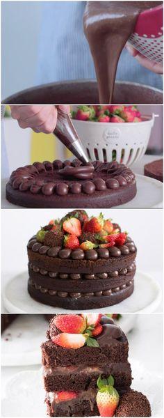 ESSE E UMA TORTURA BOLO NAKED DE BRIGADEIRO E MORANGO #chocolate #bolotorturanakeddebrigadeiroemorango #bolodechocolate #bolo #sobremesa #sobremesas