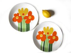 These 2 cheerful vintage Annemarie breakfast plate were made by Figgjo (Norway)…