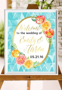 Printable Wedding Sign-Gold Turquoise Watercolor Personalized Wedding Printable-from paper and palette