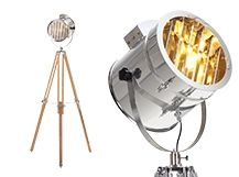 The adjustable Alfred Tripod Floor Lamp draws inspiration from vintage Hollywood set lights. With a sleek stainless steel shade and natural wood legs. Tripod Lampe, Spotlight Floor Lamp, Free Standing Lamps, Studio Lamp, Home Design Magazines, White Floor Lamp, Contemporary Floor Lamps, Luminaire Design, Spots