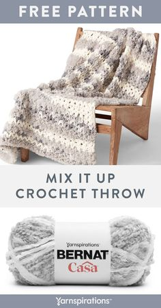Free Mix It Up Crochet Throw pattern using Bernat Casa yarn. Combining a luxurious, multi-textured yarn with a beginner-friendly pattern means this project will look advanced, but only you'll know how easy it was to make! Worked in one piece, you'll learn v-stitch, combining double crochet with chain spaces, and more. #Yarnspirations #FreeCrochetPattern #CrochetAfghan #CrochetThrow #CrochetBlanket #BernatYarn #BernatCasa Chunky Crochet, Knit Or Crochet, Double Crochet, Crochet Hooks, Free Crochet, Crochet Throw Pattern, Bernat Yarn, Textured Yarn, V Stitch