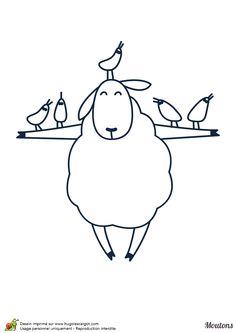 Un mouton épouvantail, à colorier Sheep Template, Sheep Art, Rock Art, Line Drawing, Farm Animals, Hand Stitching, Illustration, Coloring Books, Card Making