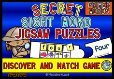 52 fun and interactive jigsaw puzzles. These puzzles contain all the Dolch Primer words.   ------------------------------------------------------- Students reveal the secret word by placing letter tiles with the beginning sound above each small picture! Then they read the word and find the jigsaw piece with the same word.