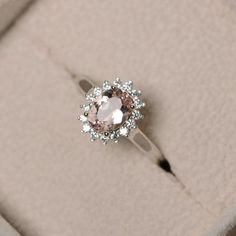 Natural morganite ring pink gemstone sterling silver by LuoJewelry