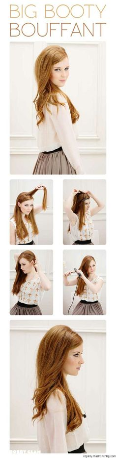 Booty Bouffant Hair Tutorial - this uses a hair piece. I wonder if could tease my hair enough to make up for it? Bardot Hair, Bouffant Hair, Corte Y Color, Tips Belleza, About Hair, Great Hair, Pretty Hairstyles, Diy Hairstyles, Hairstyle Tutorials