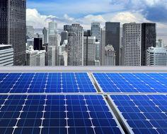 Solar panels on modern roof. Solar panels on the roof of modern skyscraper ,