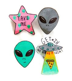 90s grunge alien pins, flying saucer, space, green aliens, gray alien, pin, etsy, handmade, spooky, pastel goth