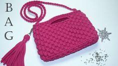 A Very Simple Crochet Yarn Backpack (subtitles) Crochet Tote, Crochet Handbags, Crochet Purses, Crochet Yarn, Knitting Yarn, Handbag Patterns, Tote Pattern, Crochet Videos, Handmade Bags