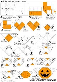 Origami Jack O Lantern With Wing instructions halloween oragami Origami 101, Quilling Paper Craft, Paper Crafts Origami, Origami Tutorial, Origami Easy, Halloween Clay, Bricolage Halloween, Easy Halloween Crafts, Halloween Treats