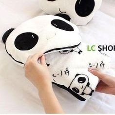 Set: 1 Fleece Panda Cushion + 1 Blanket from #YesStyle <3 Lazy Corner YesStyle.com.au